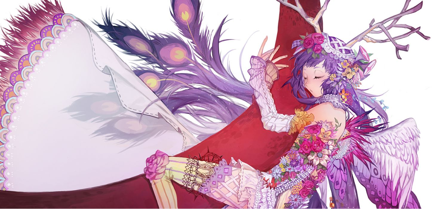 original feathers flowers horns original purple hair wings wallpaper