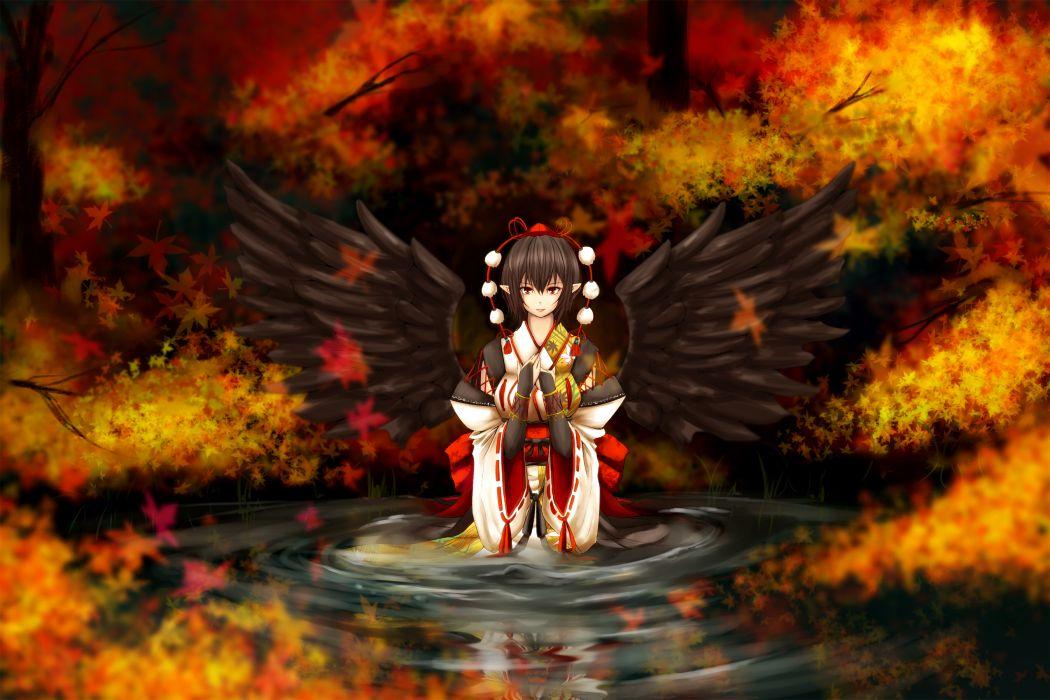 touhou autumn black hair hat japanese clothes leaves red eyes shameimaru aya touhou untsue water wings wallpaper