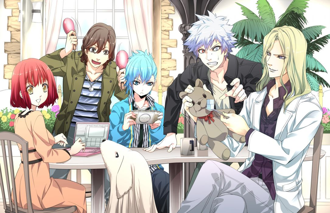 uta no prince-sama animal blonde hair blue eyes blue hair camus computer dog game console gray hair group mikaze ai nanami haruka red hair teddy bear yellow eyes wallpaper