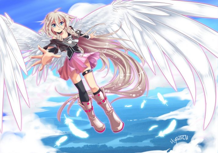 vocaloid blue eyes boots ia long hair signed skirt sky thighhighs twintails vocaloid white hair wings wallpaper