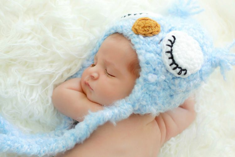 blue baby hat owl sleeping cute child wallpaper