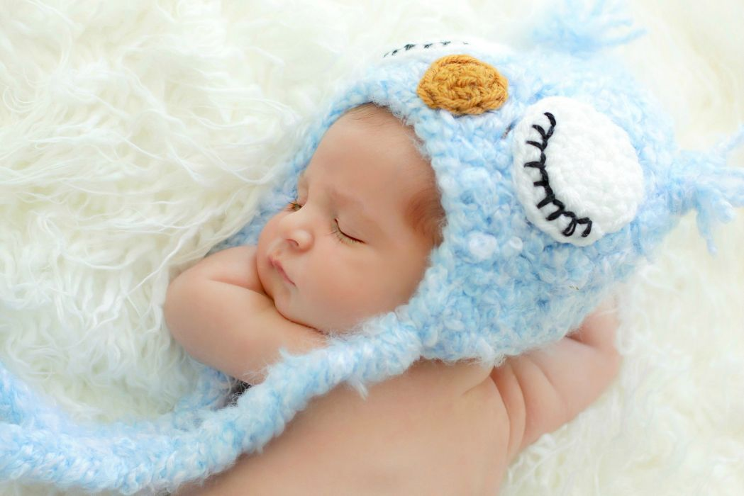 blue baby hat owl sleeping cute child wallpaper