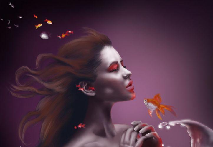 girl art background water fish mermaid underwater wallpaper