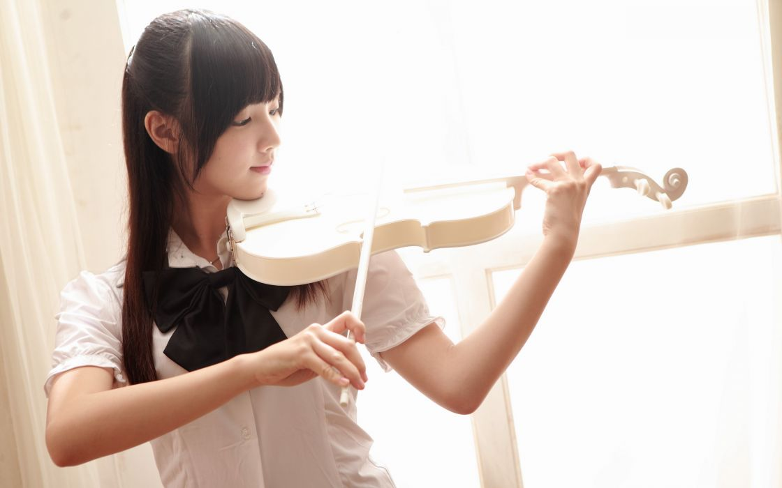 girl asian violin music g wallpaper