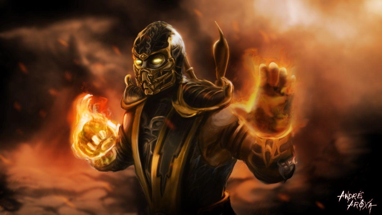 mortal kombat scorpion warrior fire magic warriors fantasy wallpaper