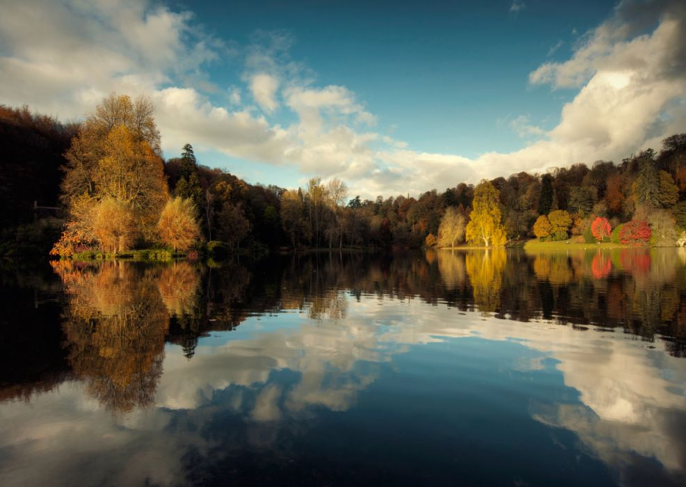 nature autumn lake sky trees reflection wallpaper