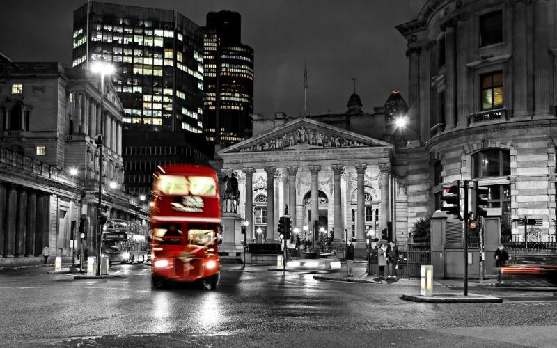 road blur night bus england london black and white street city exposure timelapse wallpaper