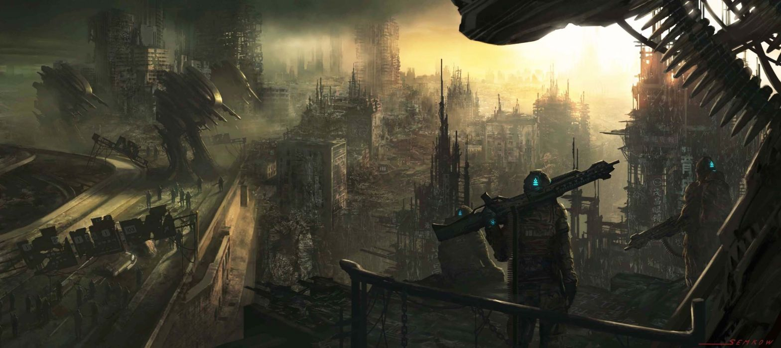 art  city  army  robots  machines  ruins  soldiers  weapons apocalyptic sci-fi robot dark multi dual wallpaper