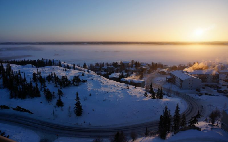 Canada Northwest Territories Yellowknife winter snow sunrise house building wallpaper
