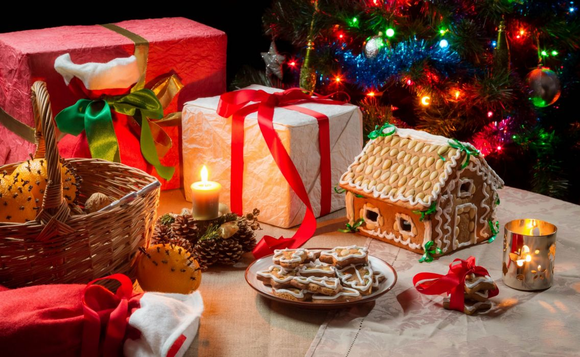 New Year gifts candles cookies gingerbread house basket oranges christmas wallpaper