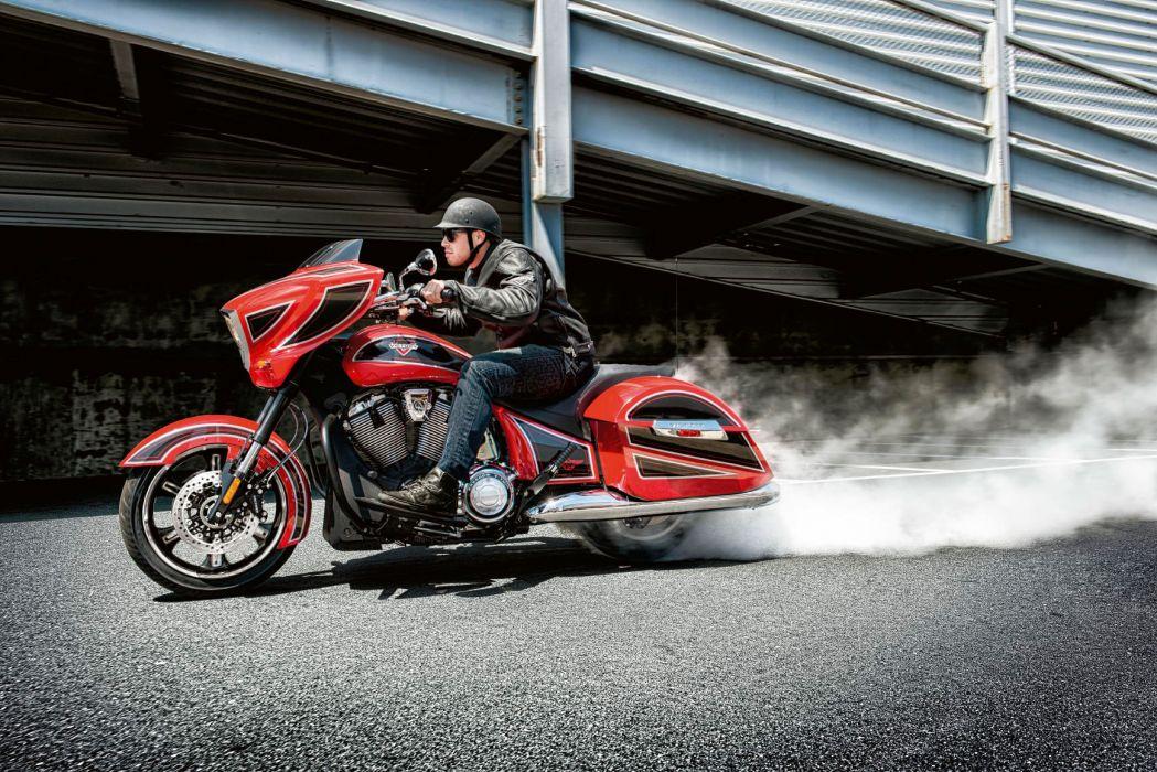 2014 Victory Cross Country Ness Motorbike Burnout Smoke Wallpaper