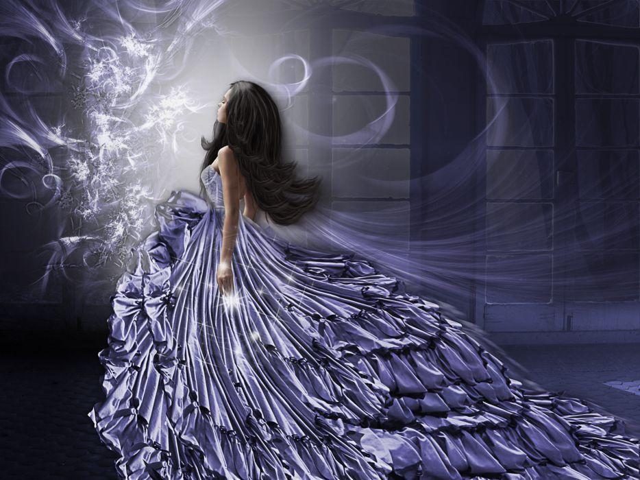 art  girl hair dress style goth goth-loli lolita gown brunette mood magic wallpaper