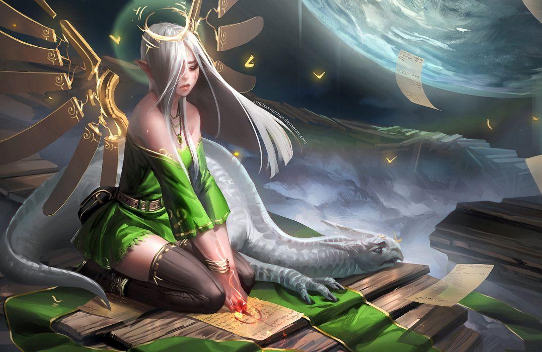 Art sakimichan girl dragon wings halo spell leaflets elf ears planet dragons magic wallpaper