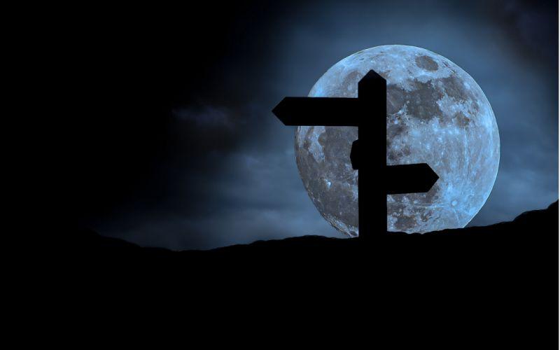moon night pointer arrow dark silhouette sky mood bokeh wallpaper