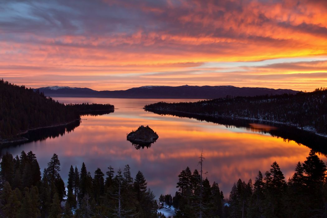 Morning Forest Spring Tahoe Lake Reflection Sunrise Sky Clouds Wallpaper