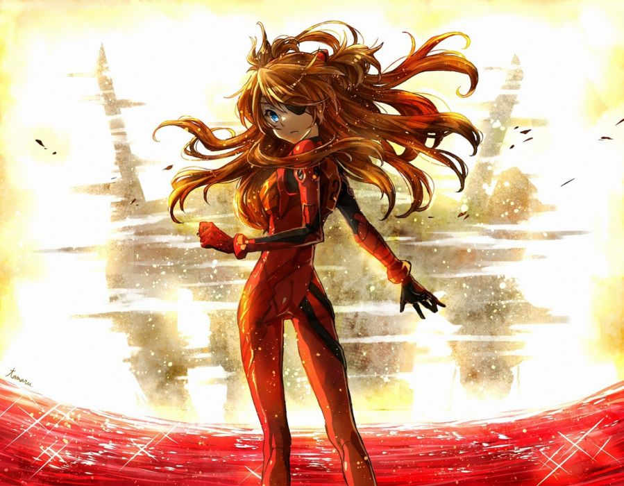 Neon Genesis Evangelion  Asuka Langley Soryu  girl  half-turn  red  bandage   f wallpaper