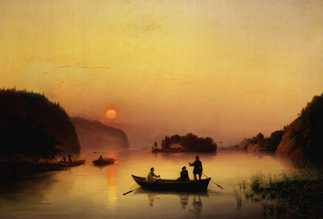 picture  Ivanov  ferry  river  walk  boat  fog painting sunset reflection mood wallpaper