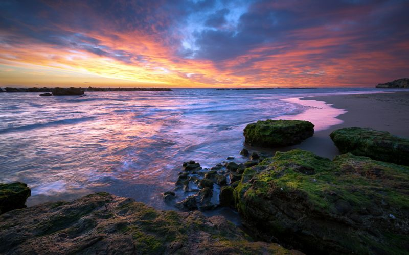 sunset sea landscape ocean sky clouds reflection wallpaper