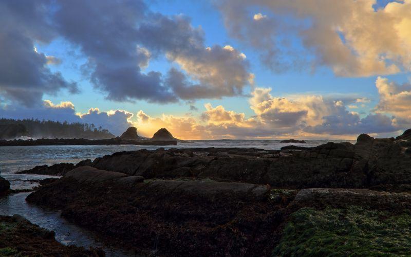 USA Oregon State Sunset Bay sea ocean sky clouds wallpaper