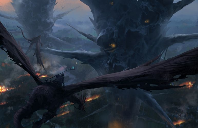 Dragon Drawing dragons magic warrior warriors city forest art artwork wallpaper
