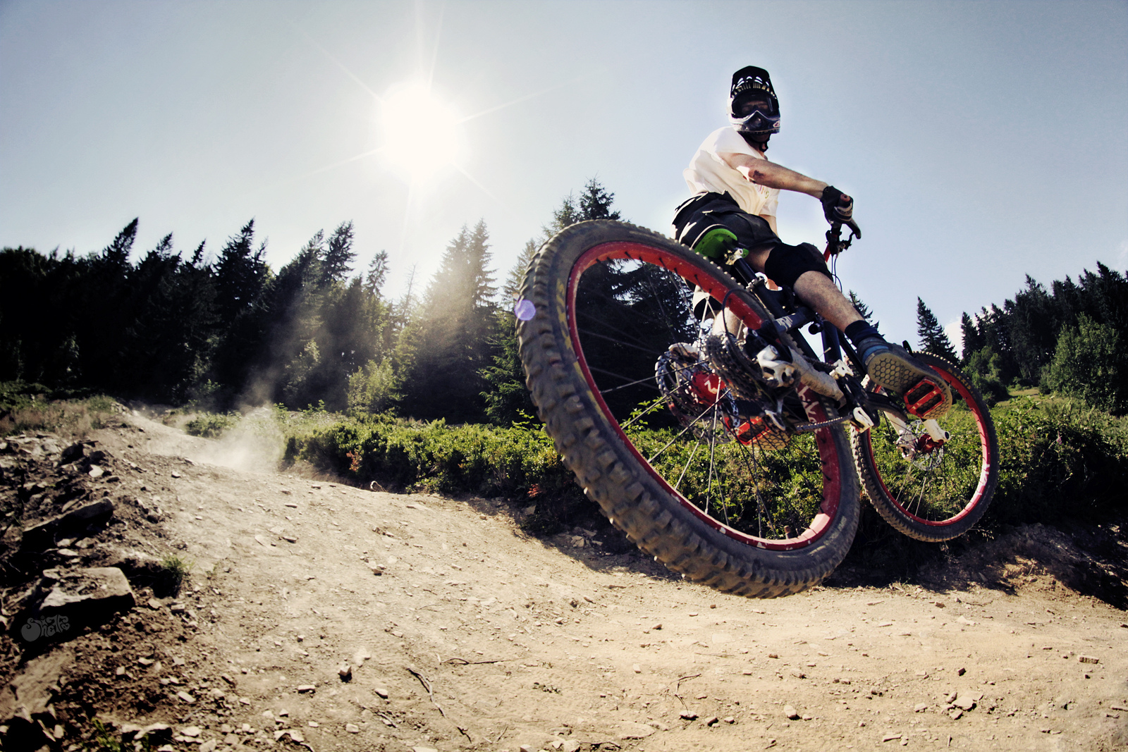 Mountain Bike Bicycle Jump Stop Action Sunlight race ...