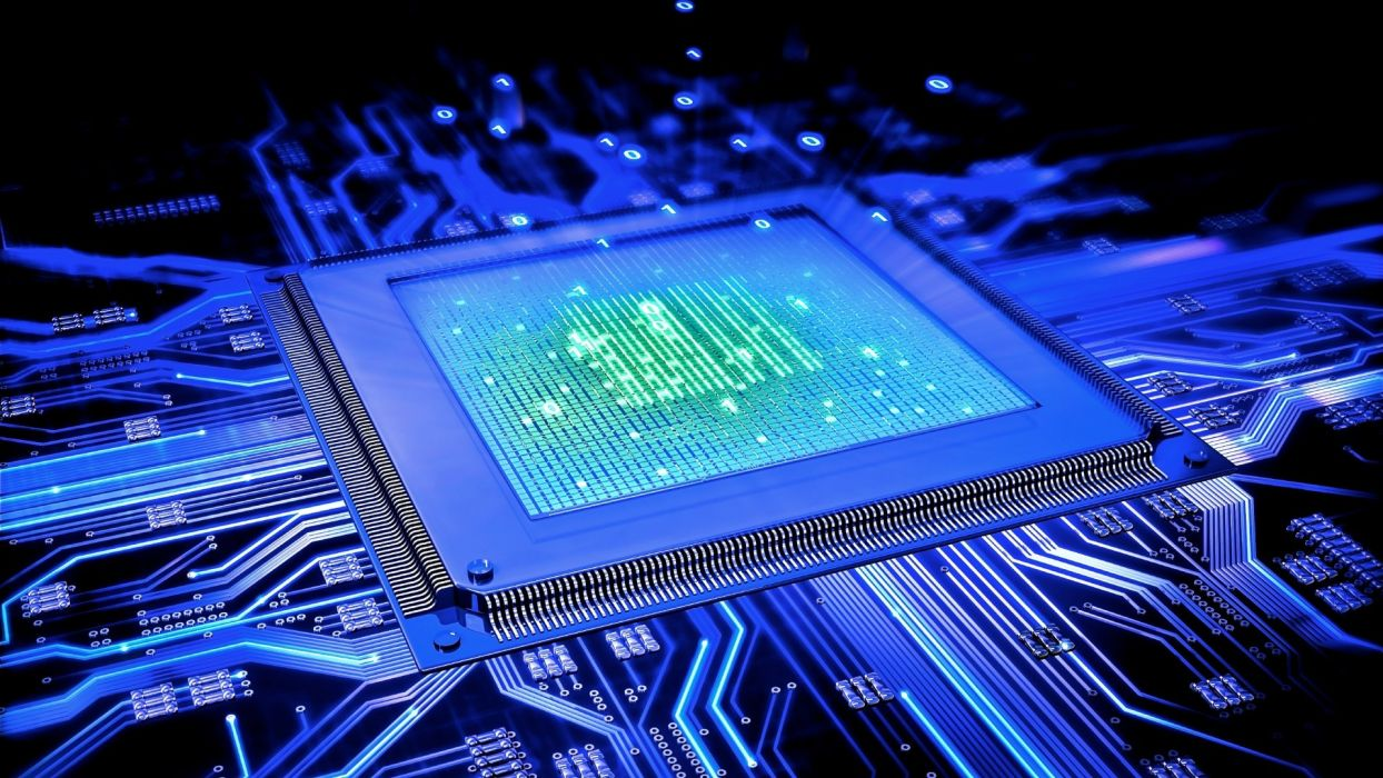 Processor CPU Motherboard Blue Circuits Circuit Board computer wallpaper