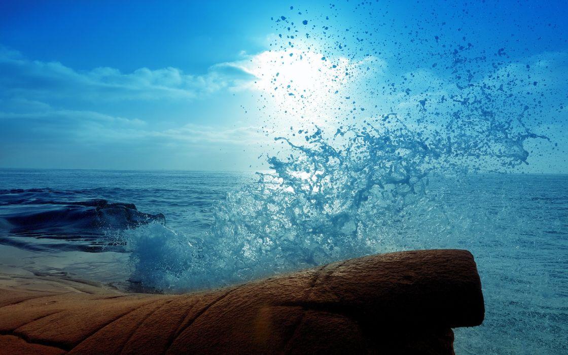 splash Ocean Water Drops Blue waves wallpaper