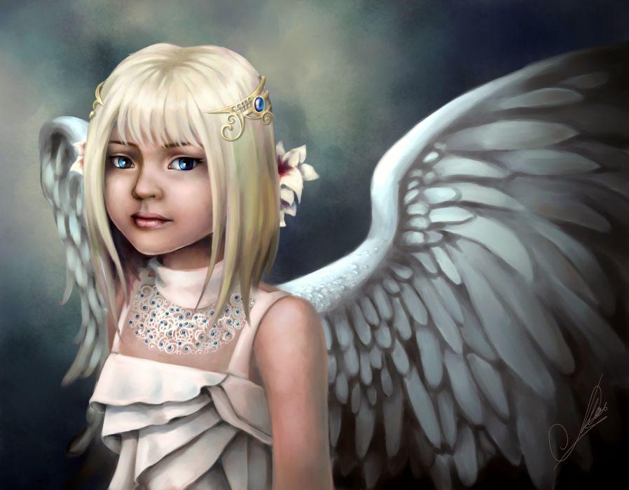 Angels Wings Blonde girl Little girls Fantasy Children angel child cute girl wallpaper
