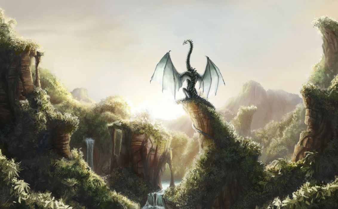 Dragons Fantastic world Fantasy dragon waterfall jungle forest river wallpaper