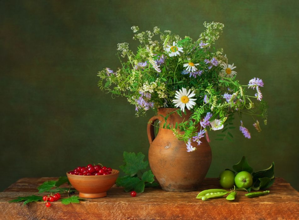 Camomiles Jug container Flowers wallpaper