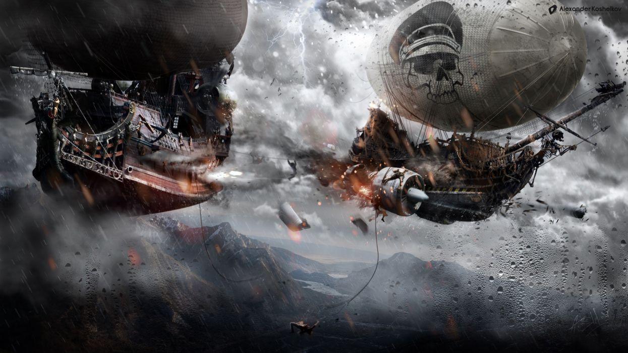 Steampunk Ships Battle Flight Fantasy sci-fi art pirate pirates ship wallpaper