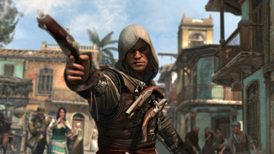 Assassins Creed 4 Black Flag Men Pistols Games warrior warriors fantasy wallpaper