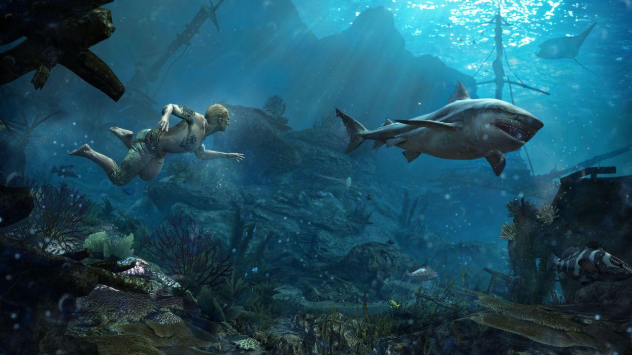 Assassins Creed 4 Black Flag Sharks Underwater world Men Games fantasy ship ocean sea shipwreck wallpaper