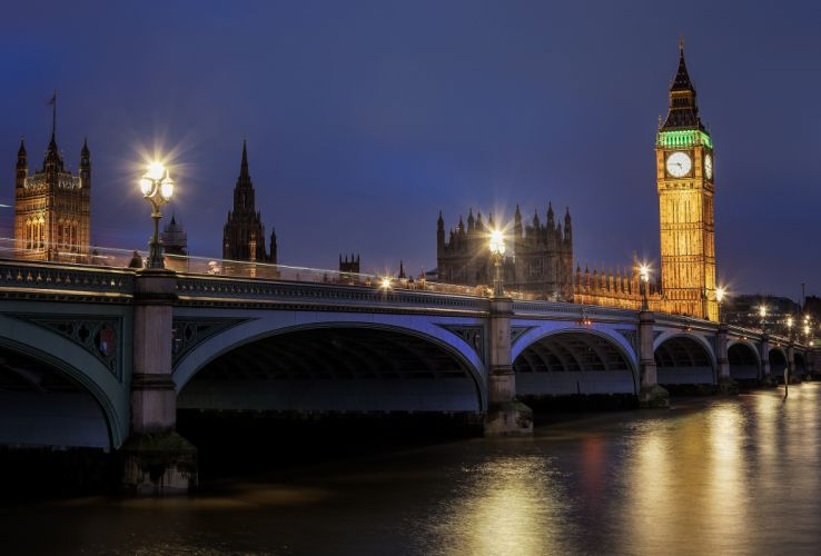 Bridge England United Kingdom Big Ben Thames Night London Street lights Cities river reflection clock watch time wallpaper
