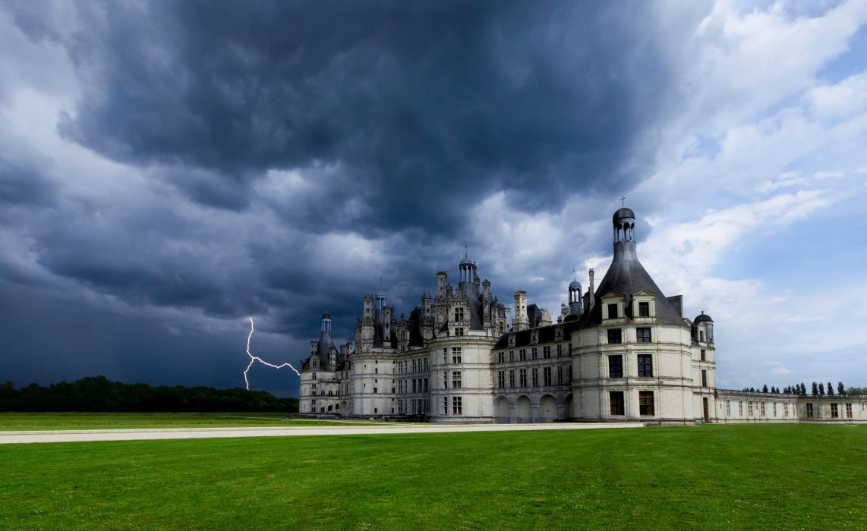 Castle Sky France Chateau de Chambord Clouds Lawn Lightning storm sky clouds wallpaper