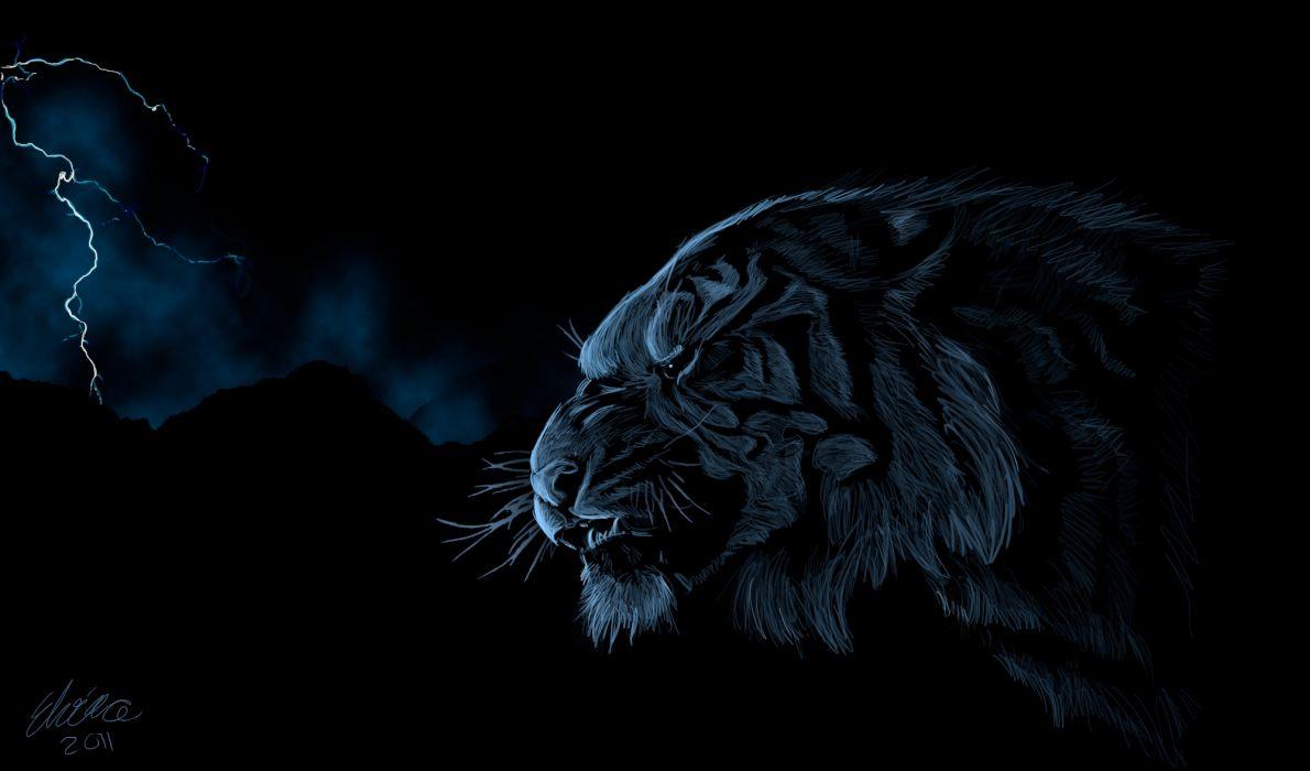 cats Tigers Painting Art Animals tiger fantasy lightning storm dark wallpaper