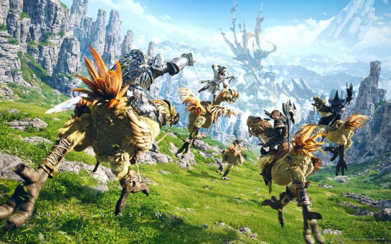 Final Fantasy XIV adventure warrior warriors creature landscape fantasy wallpaper
