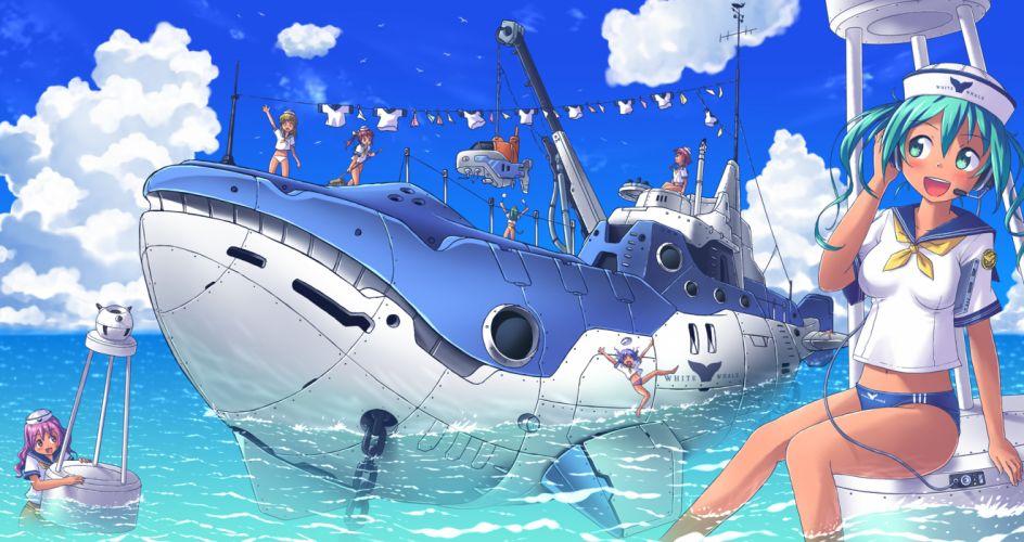 original akisorapx aqua eyes aqua hair boat clouds headphones original sky swimsuit uniform water wallpaper