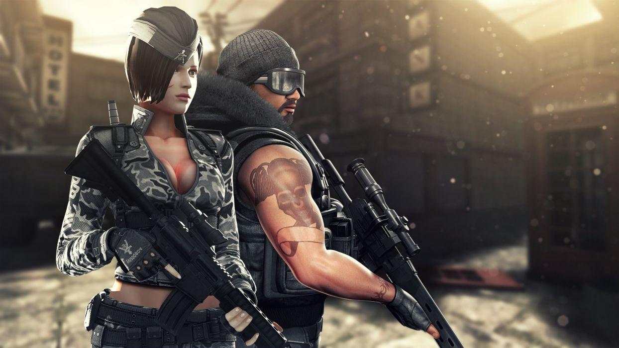 Point Blank Men Assault rifle Rifles Warriors Games Girls warrior weapon gun tattoo urban wallpaper