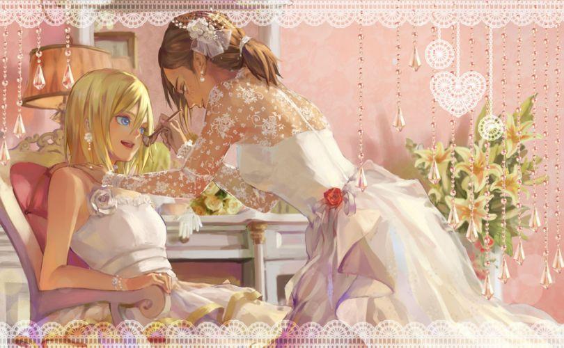 shingeki no kyojin mood bokeh girls blonde hair blue eyes brown hair christa renz dress flowers rose shingeki no kyojin wedding dress ymir (shingeki no kyojin) yuukaku wallpaper