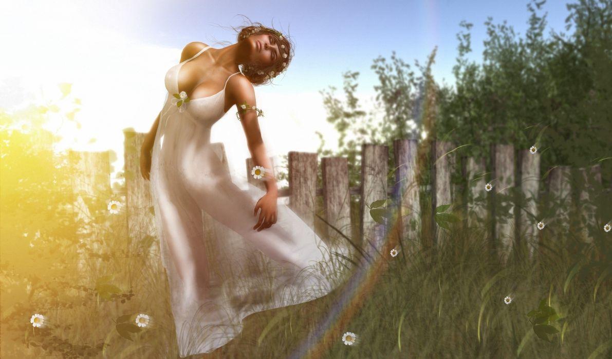 Summer Dress Fence 3D Graphics Girls fantasy mood bokeh girl flowers wallpaper