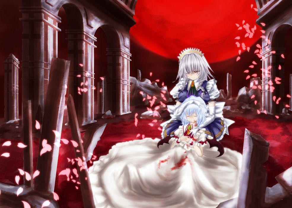 touhou blood dress gray hair headband izayoi sakuya moon petals remilia scarlet touhou untsue white hair wallpaper