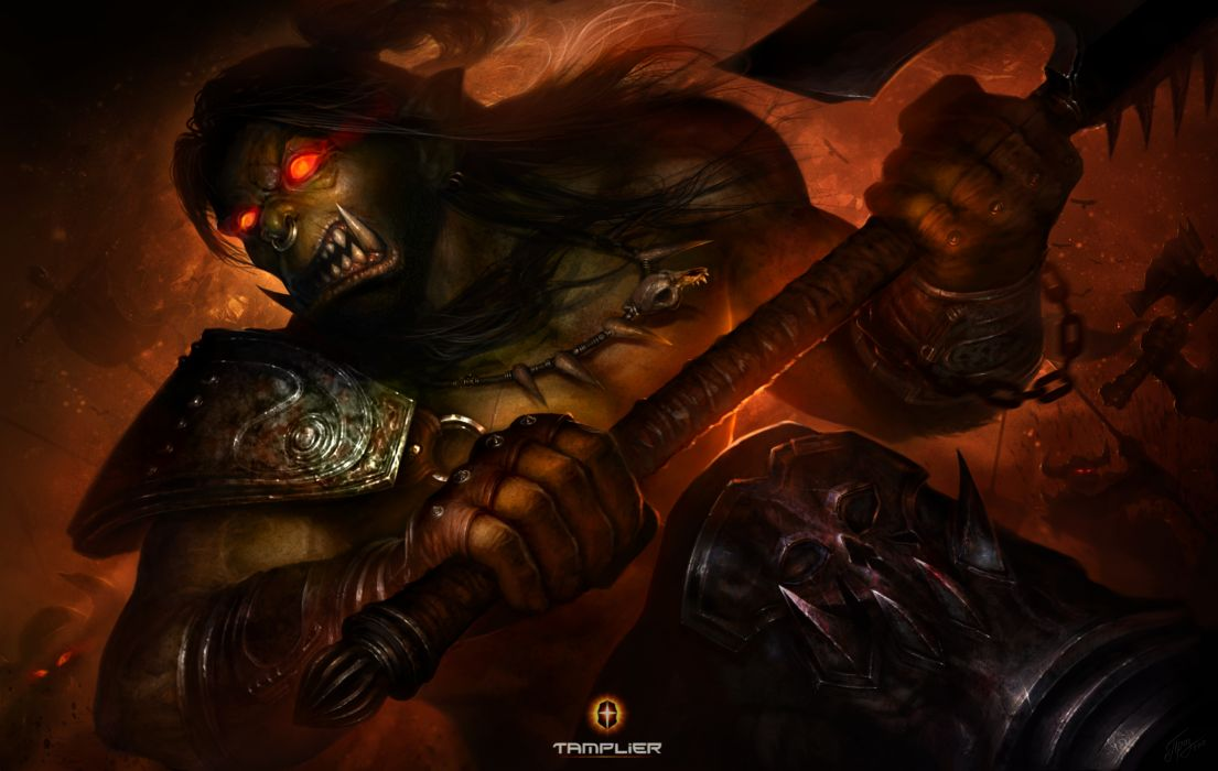 World of WarCraft WoW Warriors Orc Battle axes Games fantasy warrior dark demon demons wallpaper