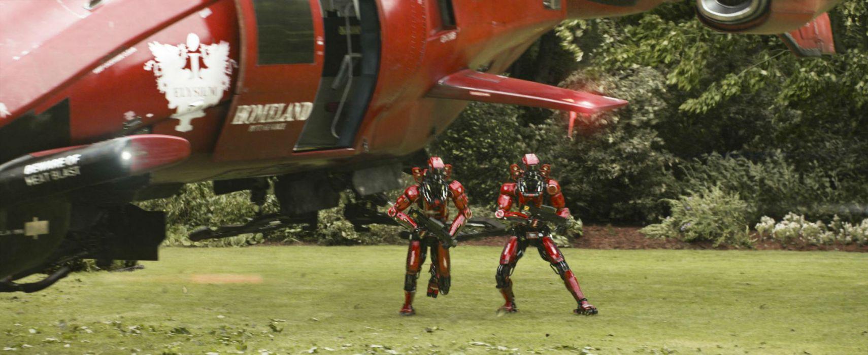 Elysium 2013 sci-fi futuristic apocalyptic future robot robots helicopter spaceship wallpaper