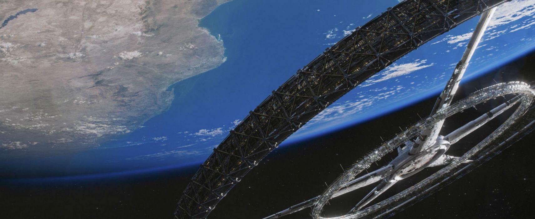 Elysium 2013 sci-fi futuristic apocalyptic future spaceship space planet planets earth wallpaper