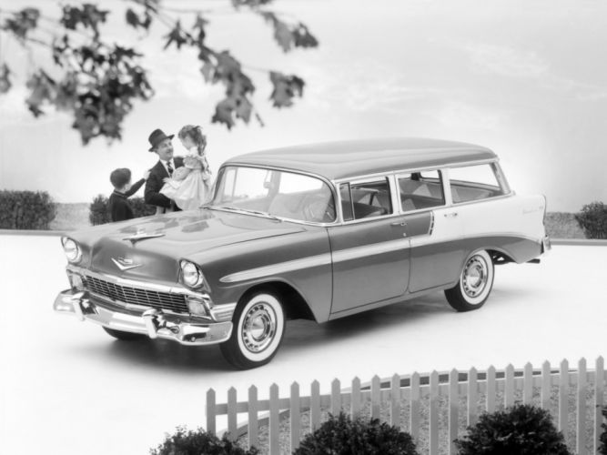 1956 Chevrolet Bel Air Beauville StationWagon retro wallpaper