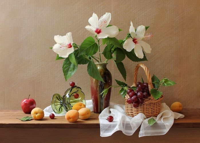 apricots grapes apples flowers hibiscus basket vase still life wallpaper