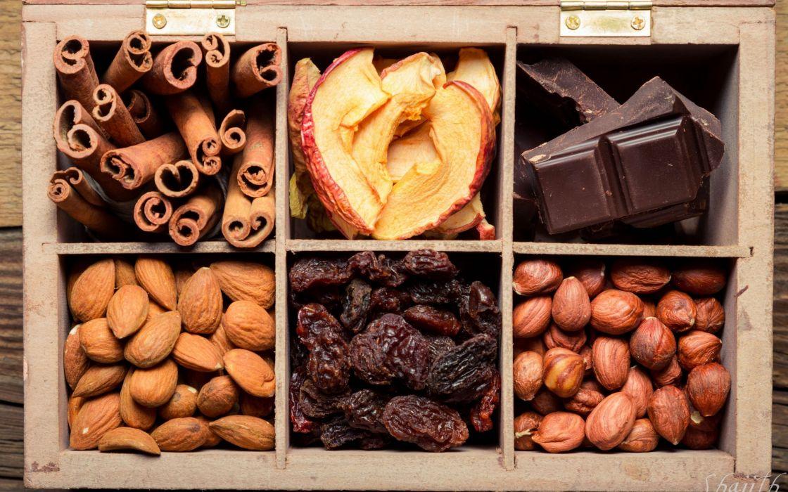 nuts dried fruit chocolate raisins apples cinnamon almonds hazelnuts box wallpaper