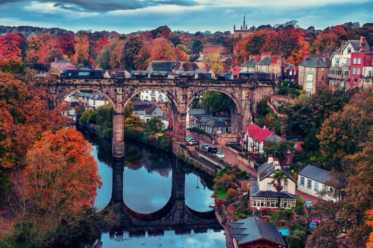 River Nidd Knaresborough England bridge train fall reflection autumn wallpaper