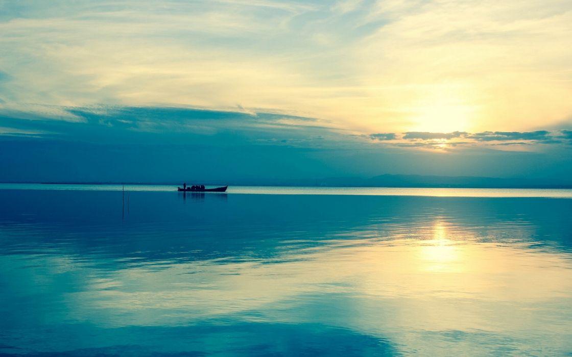 sea sunset boat landscape wallpaper
